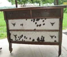 hall table dresser buffet in cowhide cabin western cowboy bedroom deco - $225 (Clarkrange / Knoxville)