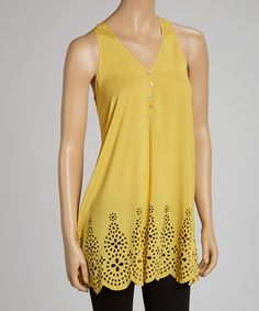 Gold Scallop-Hem Eyelet Tank.   Keeker could this be done with a hole punch...?