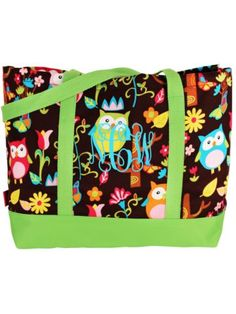 $8.50 Owl Give a Hoot Tote Bag with Lime Trim