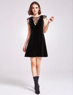 Velvet T-Shirt Dress with Choker Neck and Lace Hem - Black Asos ScDXXAWEyF