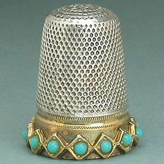 Vintage Sterling Silver Turquoise Thimble with Gilded Band Mid 20th Century | eBay