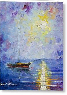 Windless Day - Palette Knife Oil Painting On Canvas By Leonid Afremov Greeting Card by Leonid Afremov #OilPaintingSunset #OilPaintingKnife