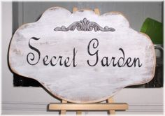 Secret Garden Shabby Cottage Chic White by mycountrycottagesign, $21.95