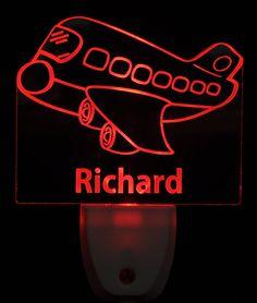 Flying Airplane Light Sensor LED Plug In Night Light, Personalized Nightlight, Custom Nightlight by NeedForLight on Etsy