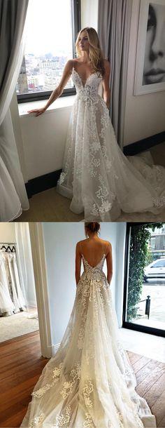 Gorgeous Straps A-line White Long Wedding Dress with Court Train,#beachweddingdresses