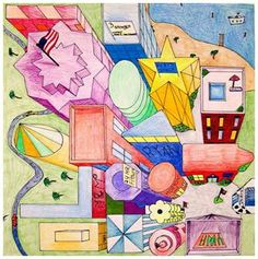 One Point Perspective - Bird's Eye View Art Education Lessons, Art Lessons For Kids, Art For Kids, High School Art, Middle School Art, Drawing Projects, Art Projects, 2 Point Perspective Drawing, Drawing Interior