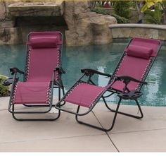 Zero Gravity Chairs Set Of 2 Burgundy Lounge Patio Chairs Yard Beach Outdoor #Onebigoutlet