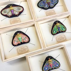 """549 Likes, 4 Comments - Azumi Sakata (@zoomy) on Instagram: """"I up a few moth brooches to the my Etsy shop. Please check these. #azumisakata #embroidery…"""""""