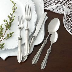 Distinctive, rustic, and perfect for everyday use. The hammered detail of this solid pewter handled flatware showcases the talents of fine Italian artisans. Italian pewter and 18/10 stainless steel, H