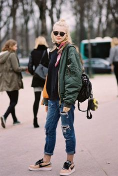 Street Style | green bomber jacket x black knit x silk Foulard x sneakers