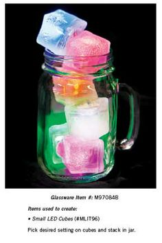 For a simple but fun favor take a glass and add LED light-up ice cubes. It's easy to create but looks great.