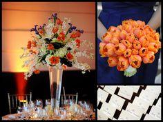 Navy And Orange Wedding Table Decor
