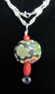 Red Fimo Flower Necklace