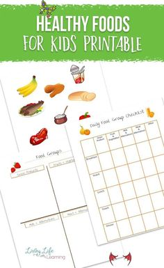 Healthy Foods for Kids Printable Teach your kids to watch what they eat with this Healthy Foods for Kids Printable. Now they can track if they are eating from the different food groups and form healthy eating habits. #healthyeating #nutrition #health #homeschool #LivingLifeandLearning<br> Teach your kids to watch what they eat with this Healthy Foods for Kids Printable. Now they can track if they are eating from the different food groups.