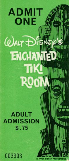 Original Tiki Room ticket