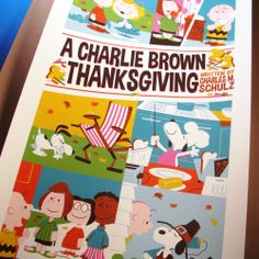 """Close-up of my """"A Charlie Brown Thanksgiving"""" print by Dave Perillo from Dark Hall Mansion."""
