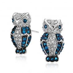 Bling Jewelry Two Tone Sapphire Color Vintage Owl Pave Stud Earrings