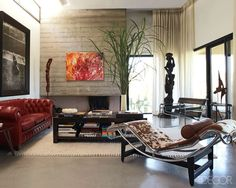 Lipstick red leather Chesterfield sofa + cowhide + chrome + abstract art... work