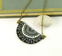 Black and White hand painted Ceramic Necklace  by PumpkinDesign, $19.00