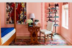 katie ridder interior design - Google Search Ottoman Table, Upholstered Ottoman, Pink Walls, Bookcase, Shelves, Interior Design, Google Search, Colorful, Spaces