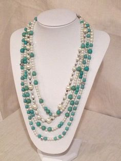 Multi-strand turquoise and pearl necklace
