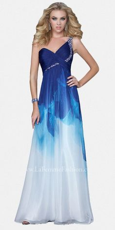One Shoulder Blue Ombre Prom Dresses by La Femme Sold Out thestylecure.com