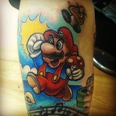 Mario tattoo done by @handyandytattoo.  #tattoo #ink #sleeve #videogametattoo #gamertattoo #gamerink #gamersleeve #videogames #gamer #gaming #nintendo #nes #supernes #supernintendo #mario #gomba #supermariobros #mariobros