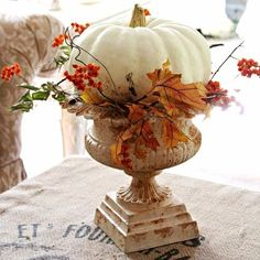 Vintage inspired French Country home tour - White pumpkins - Fall decorations - Debbiedoo's Thanksgiving Decorations, Seasonal Decor, Holiday Decor, Thanksgiving Table, Thanksgiving Crafts, Fall Church Decorations, Holiday Parties, Vintage Thanksgiving, Thanksgiving Celebration