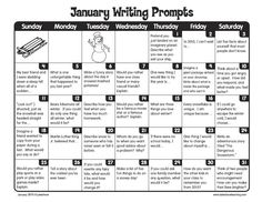 January Writing Prompts: Free printable calendar. Thanks Lakeshore Learning!