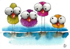ACEO Original watercolor art painting whimsical four of a kind birds big eyes  #IllustrationArt