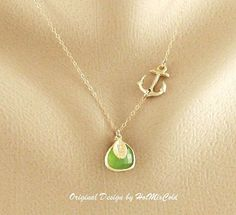 Sideways Anchor Necklace, Personalized anchor Jewelry, GOLD Fill Initial Necklace, Opal Peridot, Monogram Anchor Charm Necklace on Etsy, $36.00