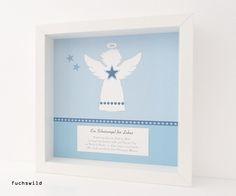 Schutzengel Bild Kunstdruck Engelsform groß blau 1, Taufgeschenk, Geschenk zur Geburt, Schutzengel Bild Taufe