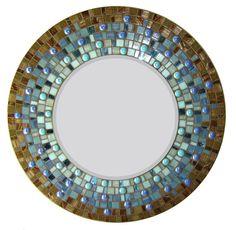 Blue & Brown Mosaic Mirror Round  24inch by opusmosaics on Etsy, $200.00