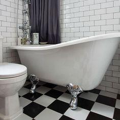 Monochrome bathroom with smart slipper bath