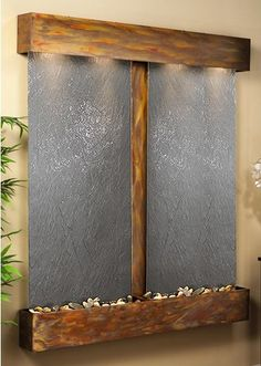 Cottonwood Falls Wall Fountain with Black Featherstone in Rustic Copper  CF-S-1011