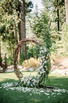 Moon gate wedding arch at Skypark Weddings in Lake Arrowhead Forest Wedding, Garden Wedding, Fall Wedding, Fantasy Wedding, Floral Wedding, Rustic Wedding, Ceremony Arch, Wedding Ceremony, Wedding Gate