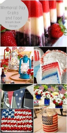 Memorial day party food and craft ideas. Red white and blue decor and food on dreambookdesign.com
