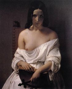 """Francesco Hayez: """"Meditation on the History of Italy"""", Oil on canvas, 1850, 90 x 70 cm (35.43"""" x 27.56""""), Private collection."""