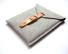 iPad 4 sleeve iPad retina iPad 2 wool felt cover iPad 3 Merino wool grey modern minimal simple brown leather strap