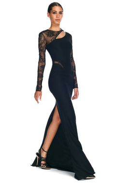 Donatella does sexy like only Italians can. Love this dress.  Asymmetrical Cut Out Evening Gown