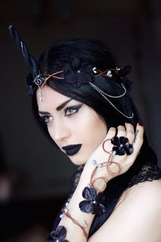Black Unicorn Crown  halloween costume by Frecklesfairychest