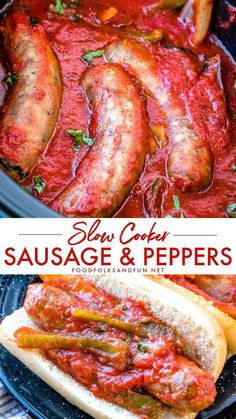 SLOW COOKER Sausage and Peppers Sausage and Peppers is a classic Italian-American comfort food dish; Ive added my own spin on it by cooking it in the slow cooker! In this post, youll also find make ahead and freezer meal directions! Sausage And Peppers Crockpot, Crockpot Italian Sausage, Sausage Crockpot Recipes, Crock Pot Recipes, Healthy Crockpot Recipes, Pork Recipes, Slow Cooker Recipes, Cooking Recipes, Sausage Peppers And Onions