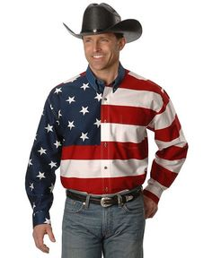 Roper Flag Print Shirt  - Sheplers