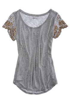 Dark Heather Grey top with glitter gold embellished sleeves.
