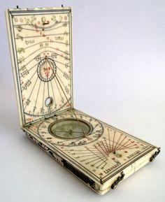 "Ivory Diptych Sundial signed ""LIENHART MIELLER 1626"""