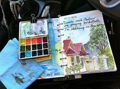 Sketching kit in action travel kits, art sketches, binder, fill, teacher bi Moleskine, Watercolor Kit, Watercolor Journal, Watercolour Palette, Sketchbook Inspiration, Art Sketchbook, Journal D'art, Journal Ideas, Grafiti