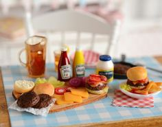 Miniature Making Hamburgers Prep Set by CuteinMiniature on Etsy