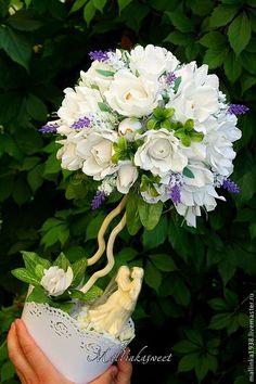 """Купить Букет из конфет, дерево из конфет """"Свадебный """" - белый, подарок, свадьба, свадебный подарок"""