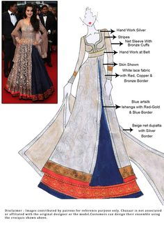 DIY Ameesha Patel Long Choli Lehenga cbabazaar: maybe they can rush it? Dress Design Sketches, Fashion Sketches, Indian Designer Outfits, Indian Outfits, Indian Fashion, Fashion Art, Fashion Design, Kathak Costume, Stylish Dresses