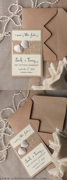 Please Save the Date for our beach wedding ! #savethedate Seashells & Pearls Save The Date Card #beachwedding #destinationwedding
